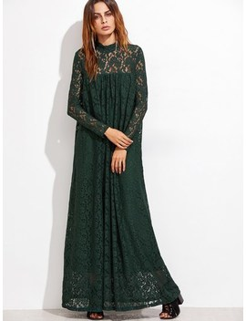 Lace Overlay Full Length Smock Dress by Shein