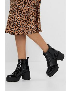 Stand Firm Patent Chunky Boots by Nasty Gal