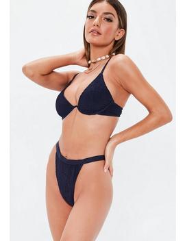 Navy Crinkle Mix And Match High Leg Tanga Bikini Bottoms by Missguided