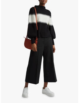 French Connection Colour Block High Neck Jumper, Black by French Connection