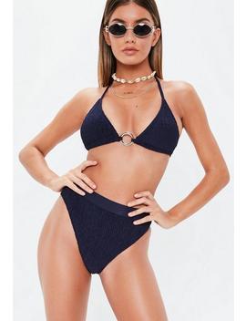 Navy Mix & Match  High Leg Crinkle Bikini Briefs by Missguided