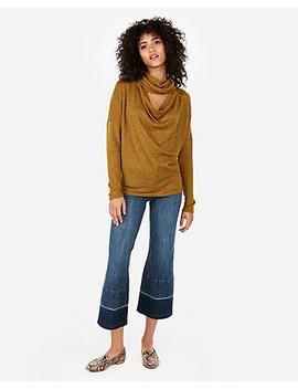 Express One Eleven Brushed Cut Out Cowl Neck Top by Express