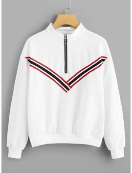 Striped Tape Zip Up Sweatshirt by Sheinside