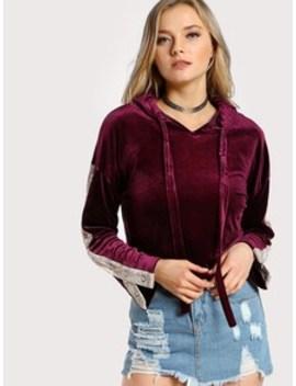 Velvet Snap Button Sleeve Hoodie Burgundy by Sheinside
