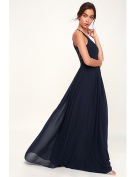 Love Spell Navy Blue Lace Back Maxi Dress by Lulus
