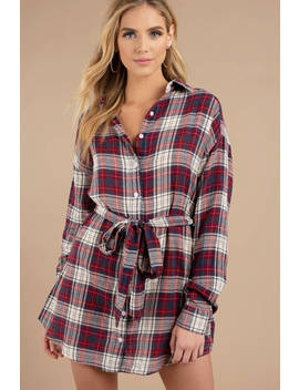 The Good Times Red Multi Plaid Shirt Dress by Tobi