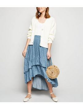 Blue Ditsy Floral Tiered Dip Hem Midi Skirt by New Look