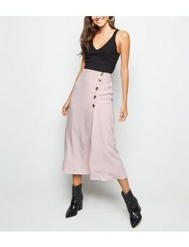 Pale Pink Linen Look Button Up Midi Skirt by New Look