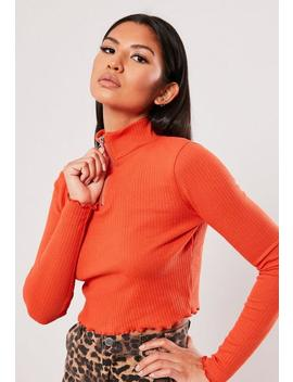 Orange High Neck Zip Front Lettuce Hem Crop Top by Missguided