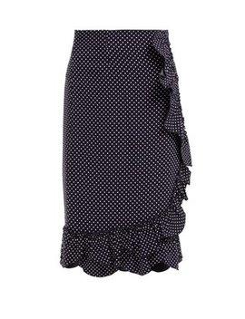 Polka Dot Ruffled Pencil Skirt by Rebecca Taylor