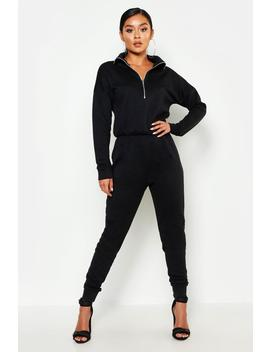 Zip Up High Neck Sweat Jumpsuit by Boohoo