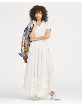 Belted Crinkled Cotton Skirt by Ralph Lauren