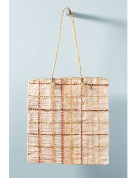 En Shalla Plaid Raffia Tote Bag by En Shalla