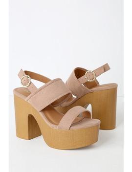 Sonoma Taupe Suede Wooden Platform Heels by Lulu's