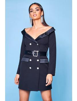 Premium Off The Shoulder Blazer Dress by Boohoo