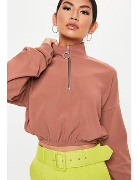 Rose Zip High Neck Cropped Sweatshirt by Missguided