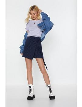 Walk A Thin Line Pinstripe Wrap Skirt by Nasty Gal