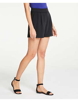Petite Lace Trim Pleated Shorts by Ann Taylor