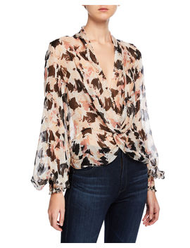 Bette Printed Twist Front Long Sleeve Blouse by Caroline Constas