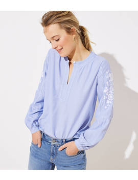 Embroidered Sleeve Split Neck Blouse by Loft