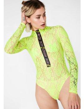 Neon Lace Bodysuit by Dolls Kill