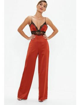 Rust Red Satin Lace Jumpsuit by Missguided