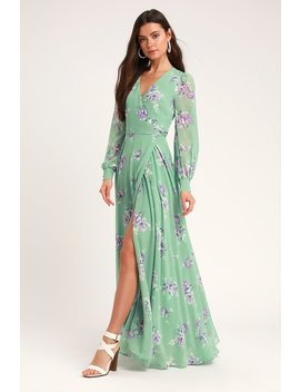 My Whole Heart Sage Green Floral Print Long Sleeve Wrap Dress by Lulus