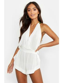 Petite Tassel Trim Cheesecloth Beach Playsuit by Boohoo