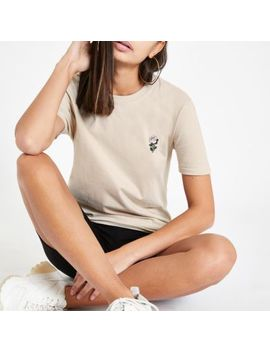 Beige Rose Embroidered T Shirt by River Island