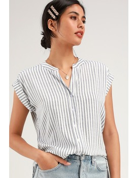 Pillar Blue And White Striped Short Sleeve Top by Rag Poets