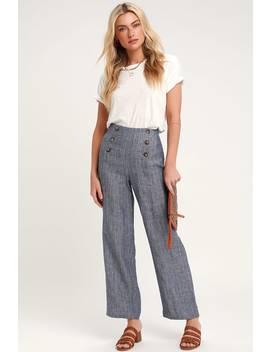 Waldin Dark Blue Chambray Button Front Culotte Pants by Lulus