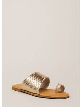 Sun's Out Toes Out Shiny Scaled Sandals by Go Jane