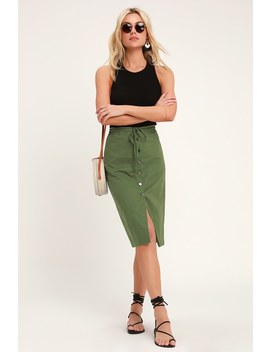 Sweet Escape Olive Green Button Front Midi Skirt by Lulus