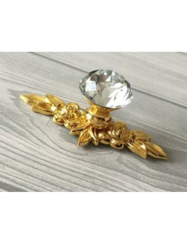 Gold Crystal Drawer Knobs Glass Dresser Knob Pulls Handle Clear Rhinestone Kitchen Cabinet Door Handle Back Plate Bling Lynns Hardware by Etsy