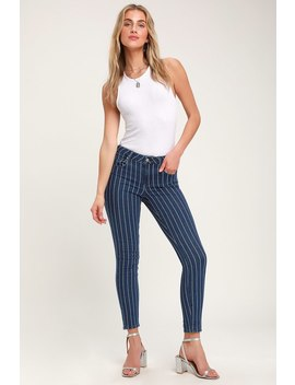 Kora Blue Striped Mid Rise Skinny Jeans by Unpublished