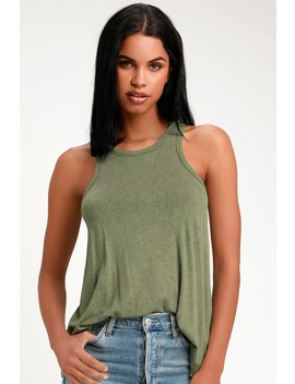 Alexia Washed Olive Green Ribbed Tank Top by Lulus Basics