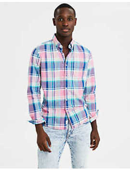 Ae Long Sleeve Plaid Oxford Button Down Shirt by American Eagle Outfitters