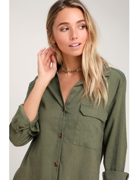 Merriment Olive Green Long Sleeve Button Up Top by Lulus