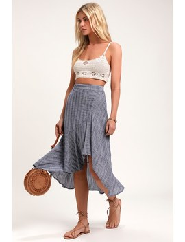 By The Bay Washed Blue And White Striped Ruffled Midi Skirt by Lulus
