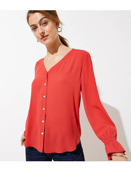 Bell Cuff Button Front Blouse by Loft