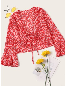 Calico Print Flounce Sleeve Blouse by Romwe