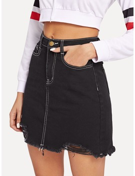 Contrast Stitch Ripped Denim Skirt by Romwe