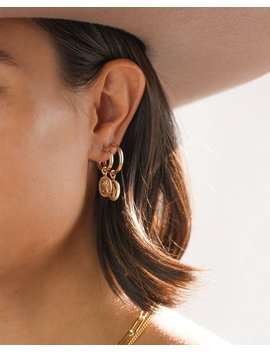 Gold Hoop Earrings With Charm, Mary Medallion Hoop Earrings, 14k Gold Filled, Gold Filled Earrings, Gold Charm Hoop Earrings by Etsy