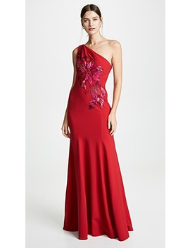 One Shoulder Gown With Beaded Appliques by Marchesa Notte