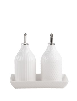 5 Piece Embossed Oil & Vinegar Set by Home Essentials And Beyond