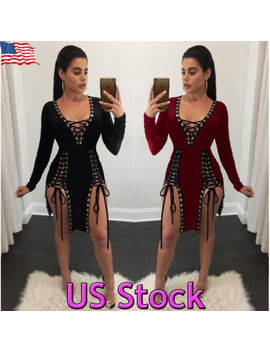 Us Women Lace Up Hollow Out Sexy Long Sleeve Deep V Neck Sexy Club Bodycon Dress by Unbranded