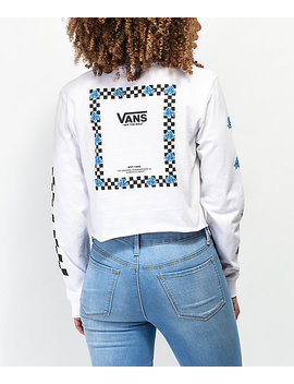 Vans Bloom White & Blue Long Sleeve Crop T Shirt by Vans