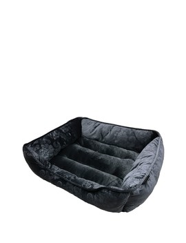"26"" Black Velvet Floral Cuddler Pet Bed by Tahari"