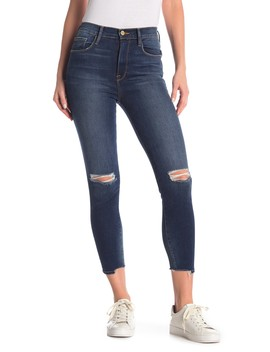 Ali Distressed High Rise Cigarette Jeans by Frame Denim