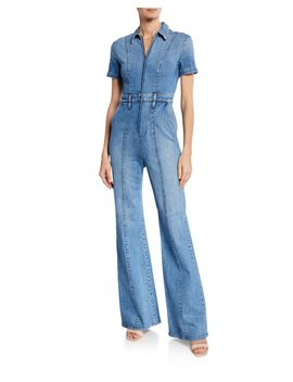 Gorgeous Wide Leg Fitted Denim Zip Jumpsuit by Alice + Olivia Jeans
